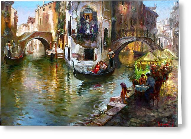 Romance in Venice Greeting Card by Ylli Haruni