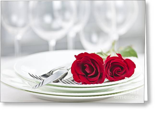Table Wine Greeting Cards - Romantic dinner setting Greeting Card by Elena Elisseeva