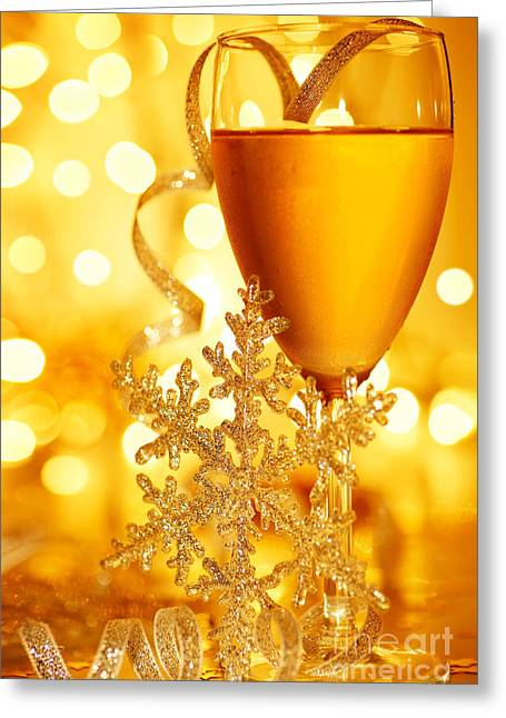 Sparkling Wine Greeting Cards - Romantic holiday celebration Greeting Card by Anna Omelchenko