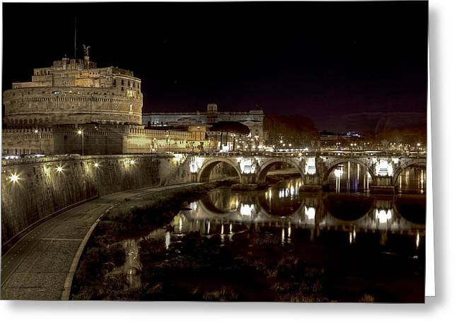 Angel Statue Greeting Cards - Rome ponte san angelo Greeting Card by Joana Kruse