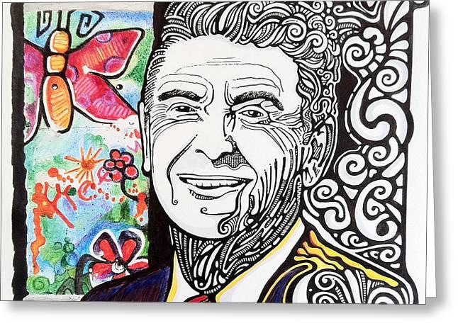 Ronald Reagan - Berlin Wall Greeting Card by Ben Gormley