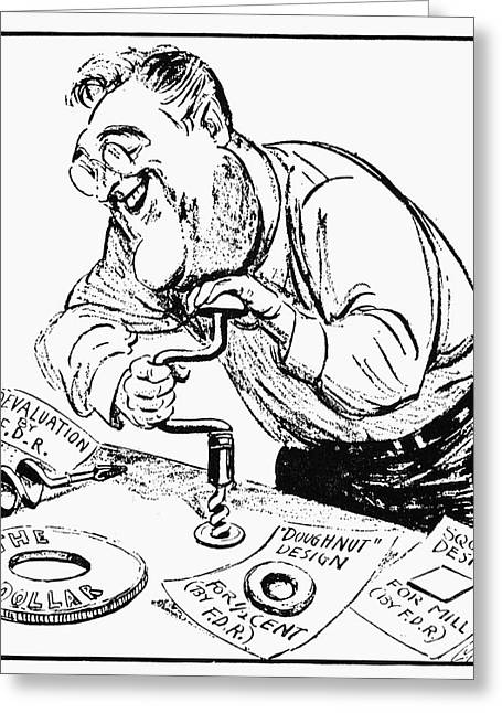 Political-economic Greeting Cards - Roosevelt Cartoon, 1934 Greeting Card by Granger