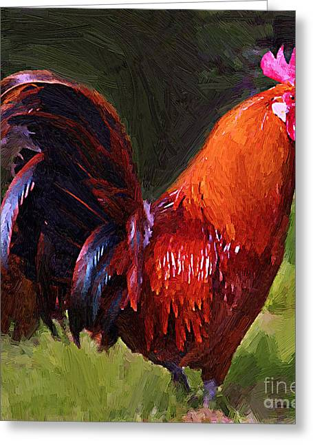 Barn Yard Mixed Media Greeting Cards - Rooster Greeting Card by Jerry L Barrett