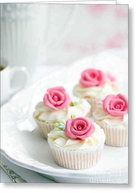 Frosting Greeting Cards - Rose cupcakes Greeting Card by Ruth Black