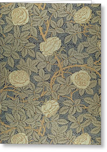 Leaves Tapestries - Textiles Greeting Cards - Rose Greeting Card by William Morris