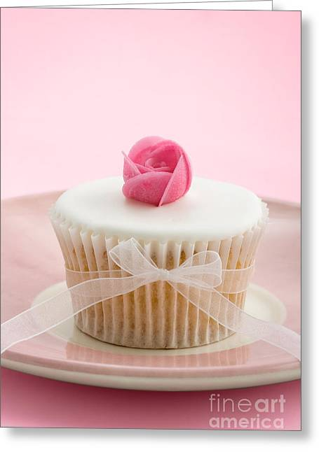 Tea Party Greeting Cards - Rosebud cupcake Greeting Card by Ruth Black