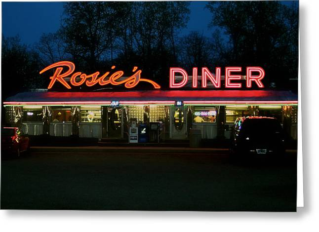 Odd Jeppesen Greeting Cards - Rosies Diner Greeting Card by Odd Jeppesen