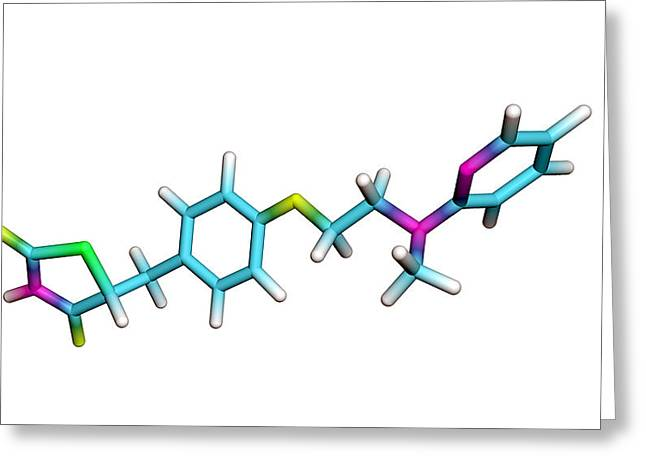 Rosiglitazone Diabetes Drug Molecule Greeting Card by Dr Tim Evans