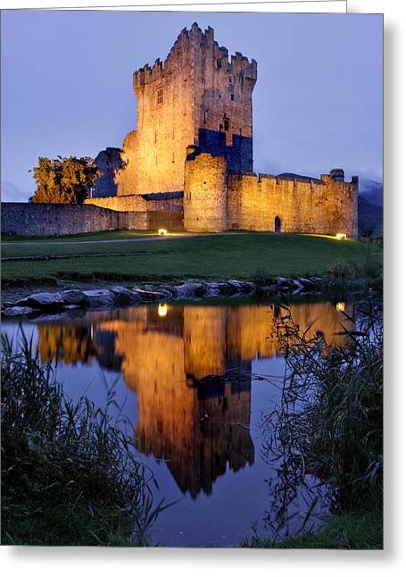 Ross Greeting Cards - Ross Castle at night Killarney Ireland Greeting Card by Pierre Leclerc Photography