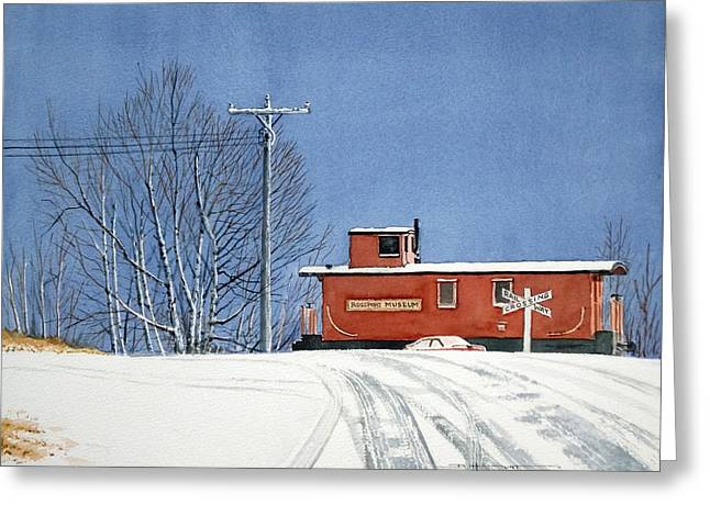 Caboose Paintings Greeting Cards - Rossport Museum Greeting Card by Douglas Hunt
