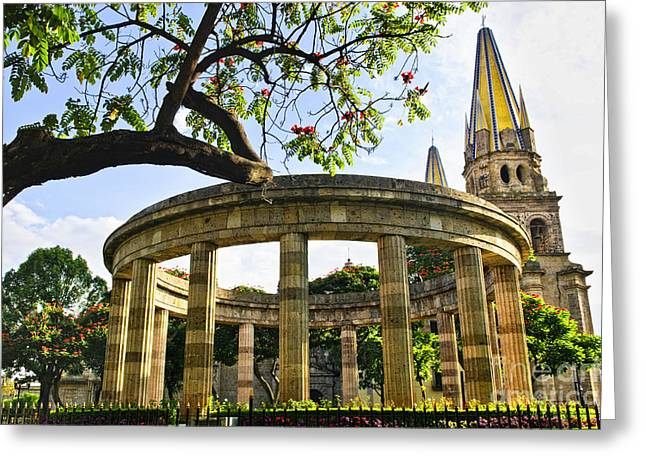 Rotunda of Illustrious Jalisciences and Guadalajara Cathedral Greeting Card by Elena Elisseeva