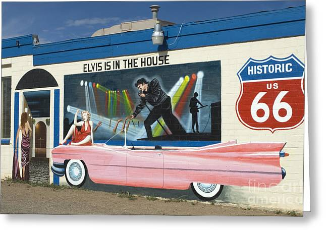Route 66 Elvis Greeting Card by Bob Christopher