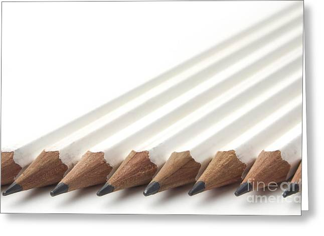 Office Space Greeting Cards - Row of white pencils Greeting Card by Blink Images