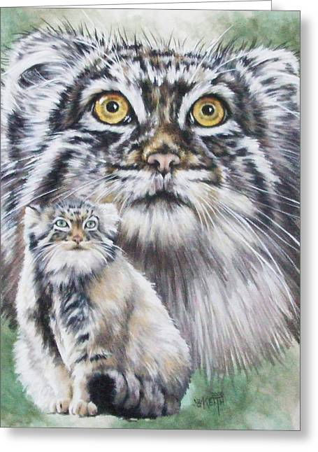 Wildcats Mixed Media Greeting Cards - Rowdy Greeting Card by Barbara Keith