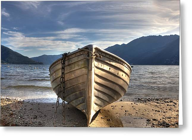 Mountain View Greeting Cards - Rowing boat on Lake Maggiore Greeting Card by Joana Kruse