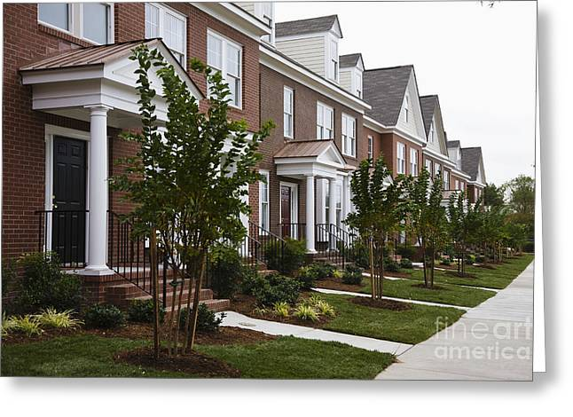 Side Porch Greeting Cards - Rows Of New Townhomes Greeting Card by Roberto Westbrook