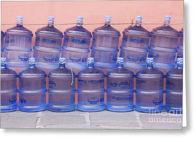 Water Jug Greeting Cards - Rows of Water Jugs Greeting Card by Jeremy Woodhouse