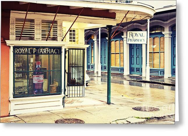 Royal Street Greeting Cards - Royal Pharmacy Greeting Card by Scott Pellegrin