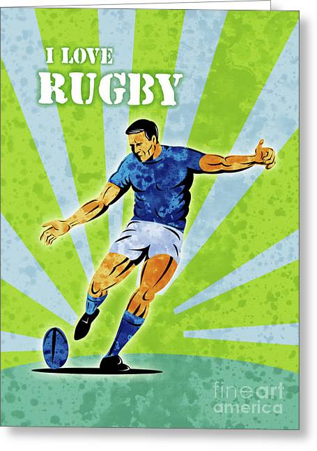 Sport Illustrations Greeting Cards - Rugby Player Kicking The Ball Greeting Card by Aloysius Patrimonio