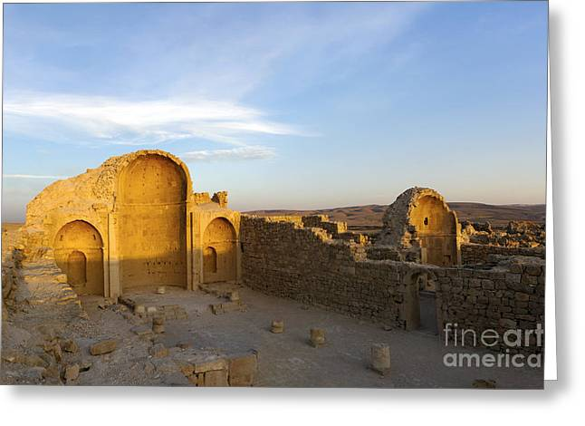 Byzantine Greeting Cards - Ruins of Shivta Byzantine Church Greeting Card by Nir Ben-Yosef