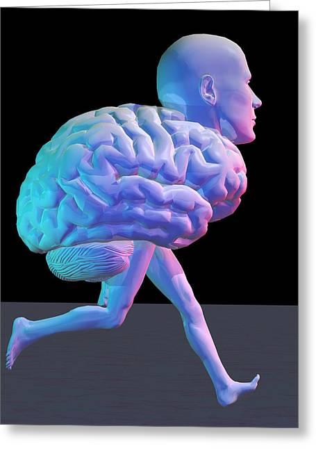 Moving Away Greeting Cards - Running Brain, Conceptual Artwork Greeting Card by Laguna Design