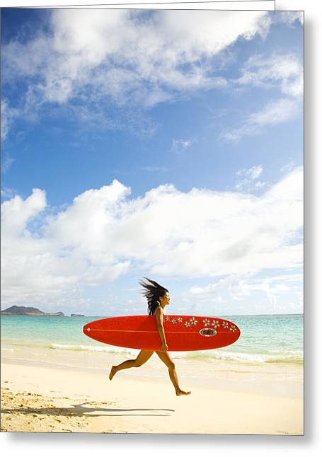 Surfing Art Greeting Cards - Running with Surfboard Greeting Card by Dana Edmunds - Printscapes