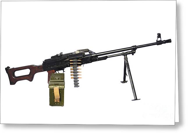 Copy Machine Greeting Cards - Russian Pkm General-purpose Machine Gun Greeting Card by Andrew Chittock