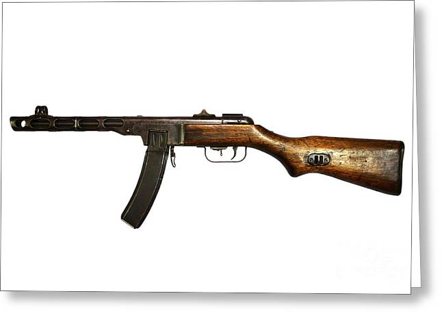 Copy Machine Greeting Cards - Russian Ppsh-41 Submachine Gun Greeting Card by Andrew Chittock