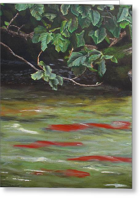 Salmon Paintings Greeting Cards - Russian River Salmon Greeting Card by Karen  Peterson