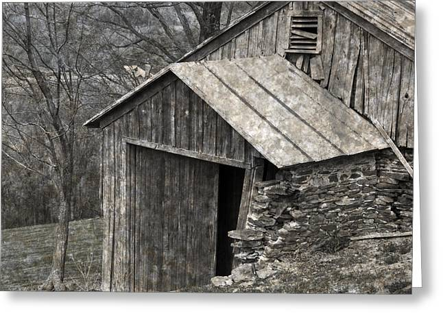 Rustic Hillside Barn Closeup Greeting Card by John Stephens