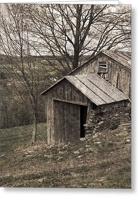 Tin Roof Greeting Cards - Rustic Hillside Barn Pasture Greeting Card by John Stephens