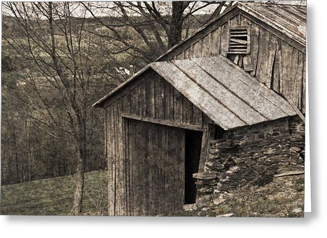Rustic Hillside Barn Pasture Greeting Card by John Stephens