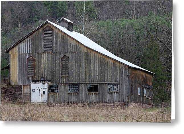 Tin Roof Greeting Cards - Rustic Weathered Mountainside Cupola Barn Greeting Card by John Stephens