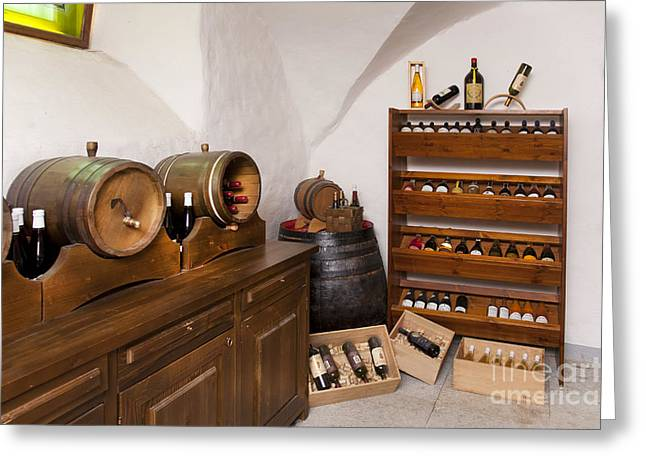 Basement Greeting Cards - Rustic Wine Cellar Greeting Card by Jaak Nilson