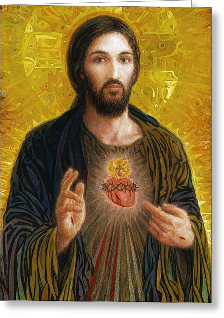 Christ Paintings Greeting Cards - Sacred Heart of Jesus Greeting Card by Smith Catholic Art