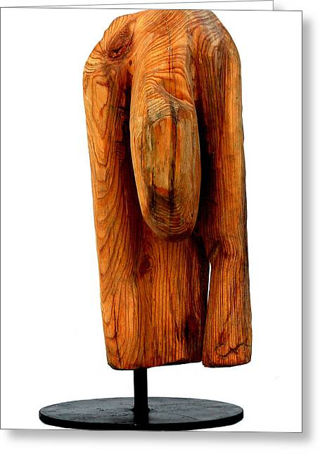 Wood Sculptures Greeting Cards - Sad 4 Greeting Card by Jorge Berlato