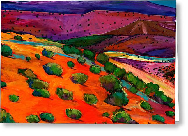 Modern Landscape Greeting Cards - Sage Slopes Greeting Card by Johnathan Harris