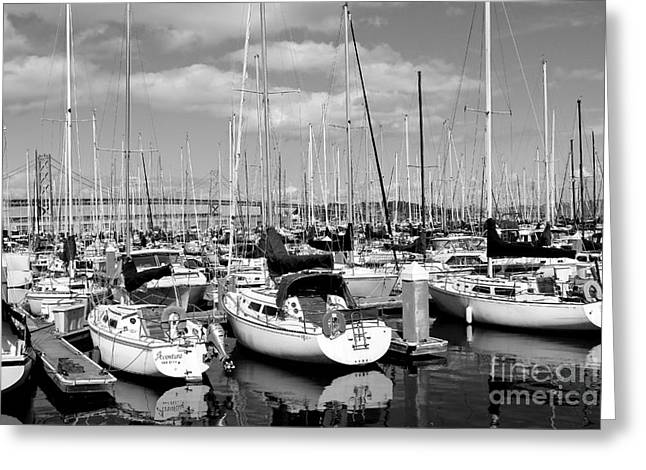 Boat Photographs Greeting Cards - Sail Boats at San Francisco China Basin Pier 42 With The Bay Bridge in The Background . 7D7666 Greeting Card by Wingsdomain Art and Photography