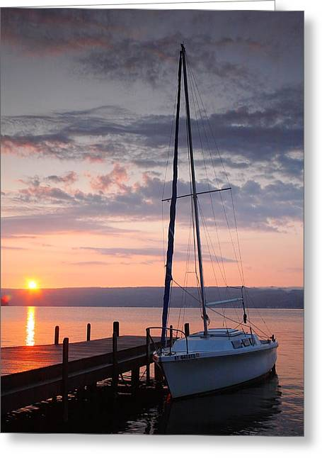 Keuka Greeting Cards - Sailboat and Lake II Greeting Card by Steven Ainsworth