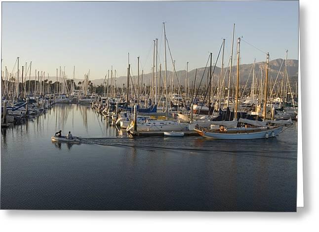 Sailboats Docked Greeting Cards - Sailboats Docked In The Santa Barbara Greeting Card by Rich Reid