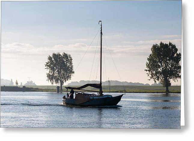 Wooden Ship Greeting Cards - Sailing on a windless morning Greeting Card by Ruud Morijn