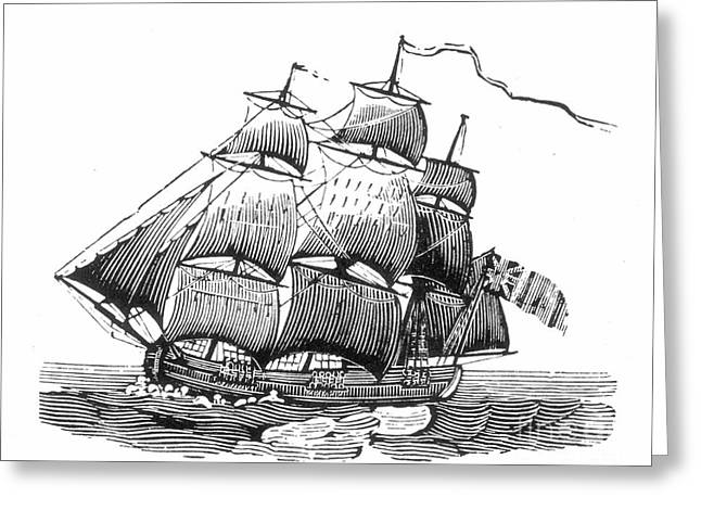 Ocean Sailing Greeting Cards - SAILING SHIP, 18th CENTURY Greeting Card by Granger