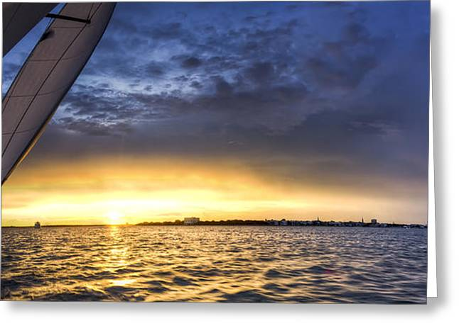 Spectacular Greeting Cards - Sailing Sunset Charleston SC Greeting Card by Dustin K Ryan