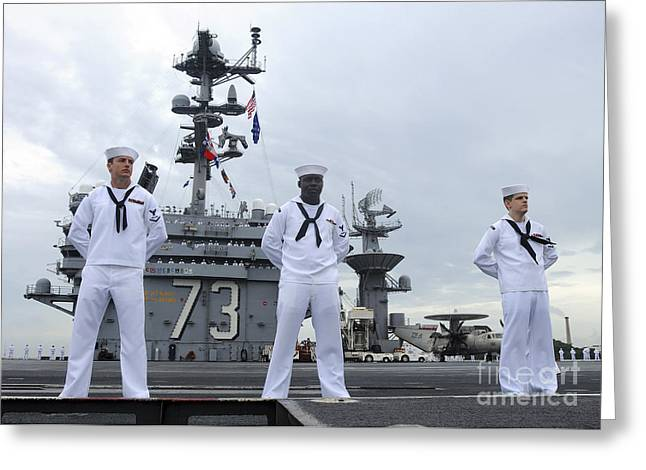 Navy Dress Greeting Cards - Sailors Man The Rails Aboard Greeting Card by Stocktrek Images