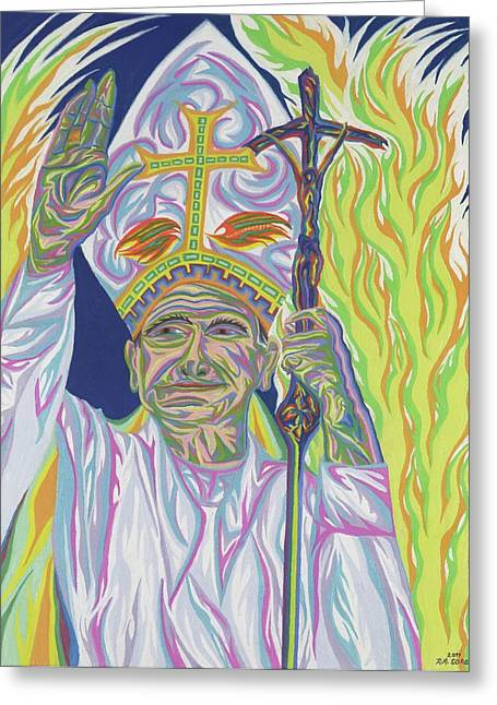 Christianity Pastels Greeting Cards - Saint John Paul II Greeting Card by Robert  SORENSEN