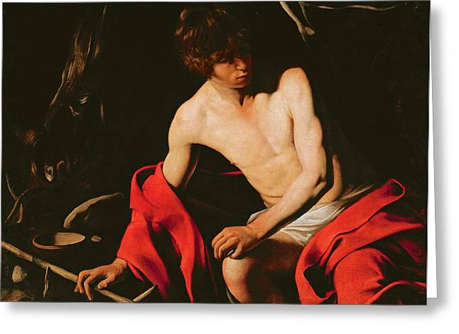 Saint John the Baptist Greeting Card by Michelangelo Caravaggio
