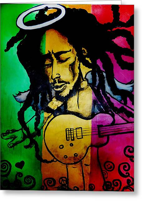Celebrities Glass Art Greeting Cards - Saint Marley Greeting Card by Asa Charles