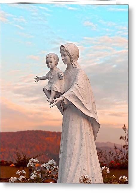 Saint Mary With Jesus Greeting Card by Design Windmill