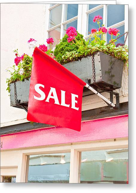 Trough Greeting Cards - Sale sign Greeting Card by Tom Gowanlock
