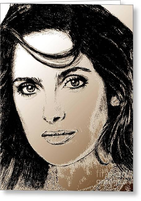 Jem Fine Arts Mixed Media Greeting Cards - Salma Hayek in 2005 Greeting Card by J McCombie